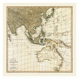 Southeast Asia and Australia Historical Map Printed on Canvas