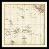 Pacific Ocean Old Map Printed on Canvas