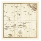 Pacific Ocean Antique Map Printed on Canvas