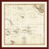 Pacific Ocean Historical Map Printed on Canvas
