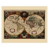 Antique World Map in Frame