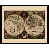 Vintage World Map in Frame