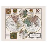 Framed Vintage Map of the World