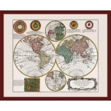 Framed Historical Map of the World
