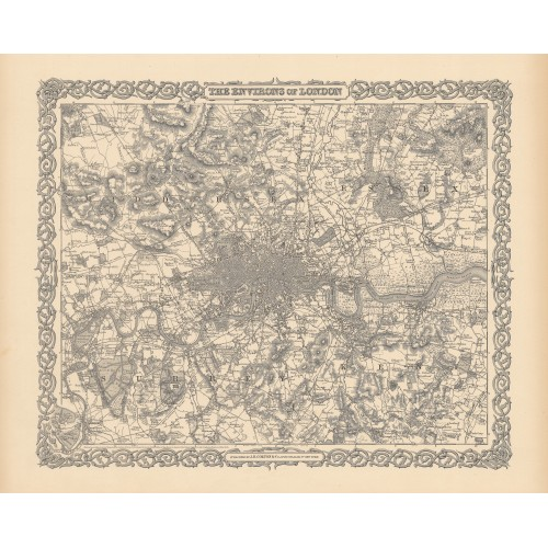 Greater London: Antique Wall Map